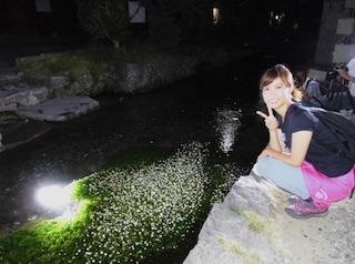 梅花藻ライトアップと玉巻映美アナウンサー.jpg