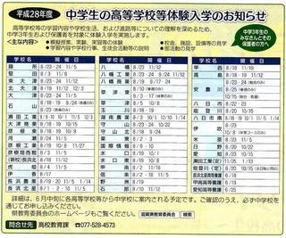 滋賀県の中学生の進路選択の高校体験入学イベント(平成28年度)