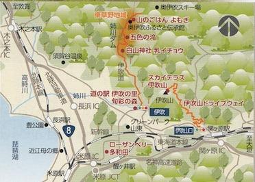 滋賀県米原市曲谷の秘境の滝「五色の滝」と伊吹山のアクセス地図.jpg