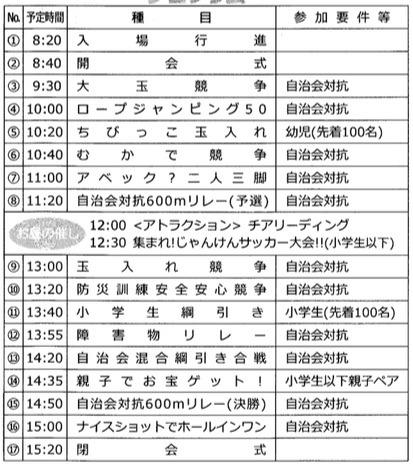 能登川運動会の日程